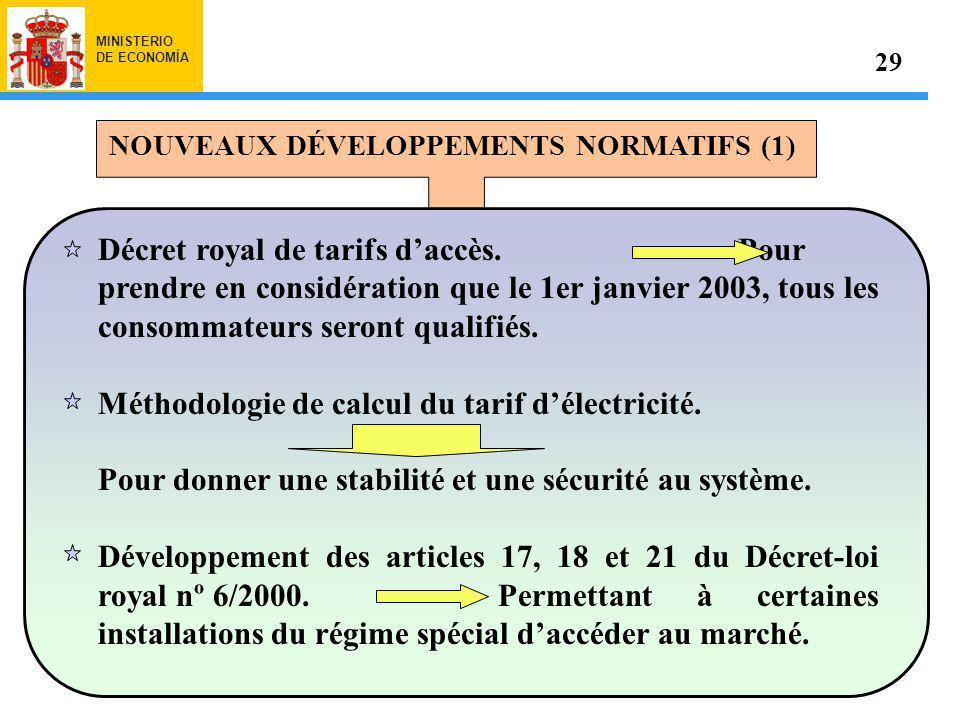 MINISTERIO DE ECONOMÍA NOUVEAUX DÉVELOPPEMENTS NORMATIFS (1) 29 Décret royal de tarifs daccès.Pour prendre en considération que le 1er janvier 2003, tous les consommateurs seront qualifiés.