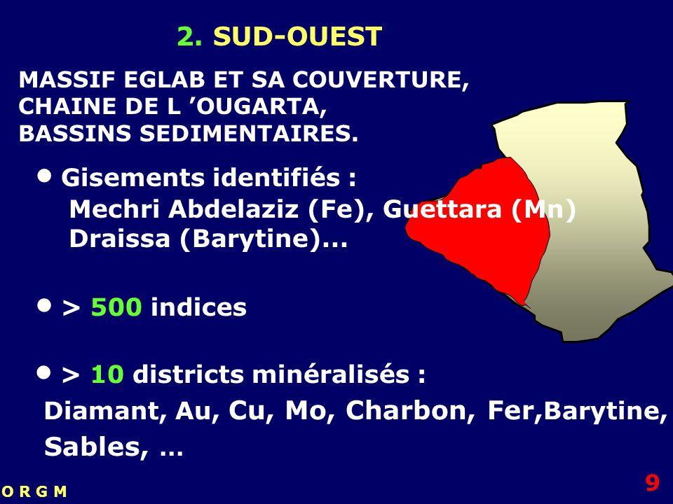 2. SUD-OUEST > 10 districts minéralisés : Diamant, Au, Cu, Mo, Charbon, Fer, Barytine, Sables,... Gisements identifiés : Mechri Abdelaziz (Fe), Guetta