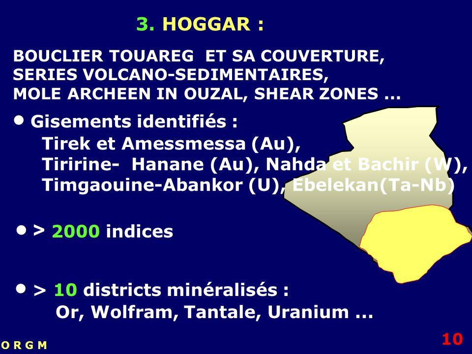 3. HOGGAR : > 10 districts minéralisés : Or, Wolfram, Tantale, Uranium... > 2000 indices Gisements identifiés : Tirek et Amessmessa (Au), Tiririne- Ha