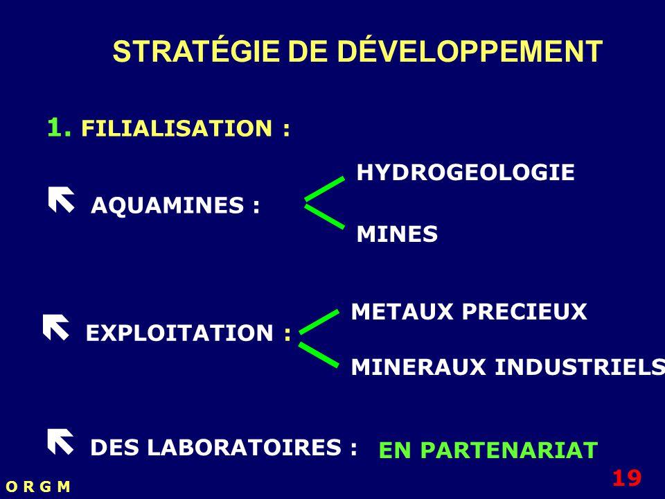 STRATÉGIE DE DÉVELOPPEMENT 1. FILIALISATION : AQUAMINES : HYDROGEOLOGIE MINES EXPLOITATION : METAUX PRECIEUX MINERAUX INDUSTRIELS DES LABORATOIRES : 1