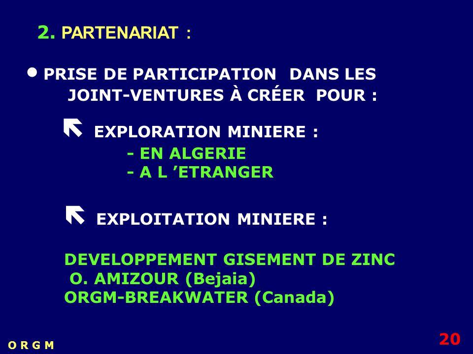 PRISE DE PARTICIPATION DANS LES JOINT-VENTURES À CRÉER POUR : 2. PARTENARIAT : EXPLORATION MINIERE : - EN ALGERIE - A L ETRANGER EXPLOITATION MINIERE