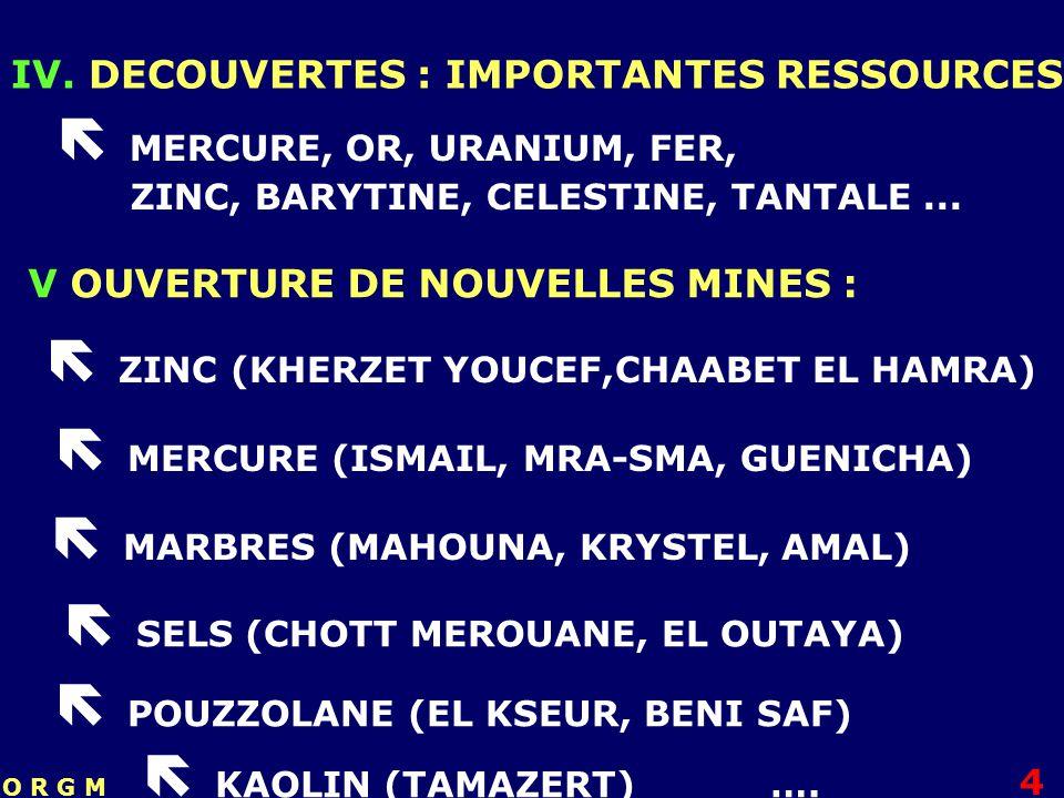 IV. DECOUVERTES : IMPORTANTES RESSOURCES MERCURE, OR, URANIUM, FER, ZINC, BARYTINE, CELESTINE, TANTALE... V OUVERTURE DE NOUVELLES MINES : ZINC (KHERZ