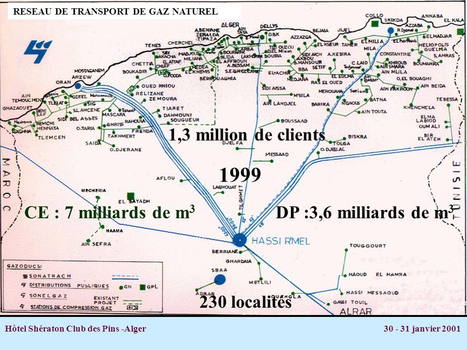 Hôtel Shératon Club des Pins -Alger 30 - 31 janvier 2001 RESEAU DE TRANSPORT DE GAZ NATUREL 1,3 million de clients DP :3,6 milliards de m 3 CE : 7 mil