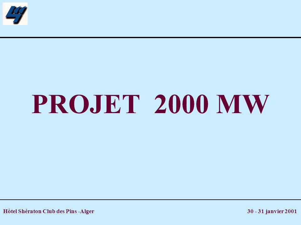 Hôtel Shératon Club des Pins -Alger 30 - 31 janvier 2001 PROJET 2000 MW