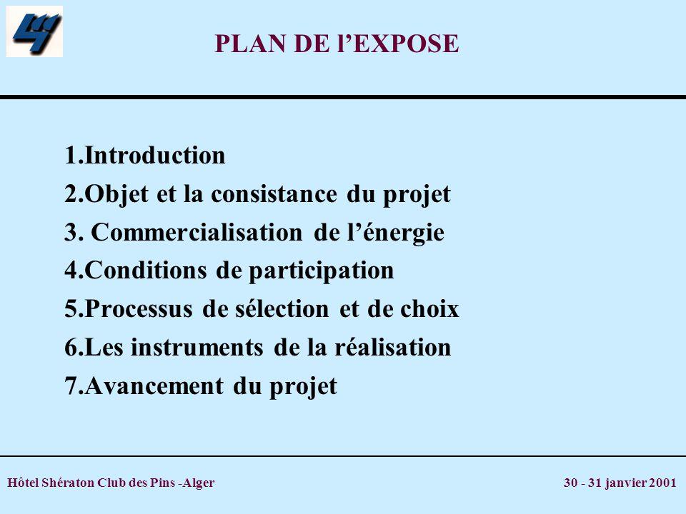 Hôtel Shératon Club des Pins -Alger 30 - 31 janvier 2001 PLAN DE lEXPOSE 1.Introduction 2.Objet et la consistance du projet 3. Commercialisation de lé