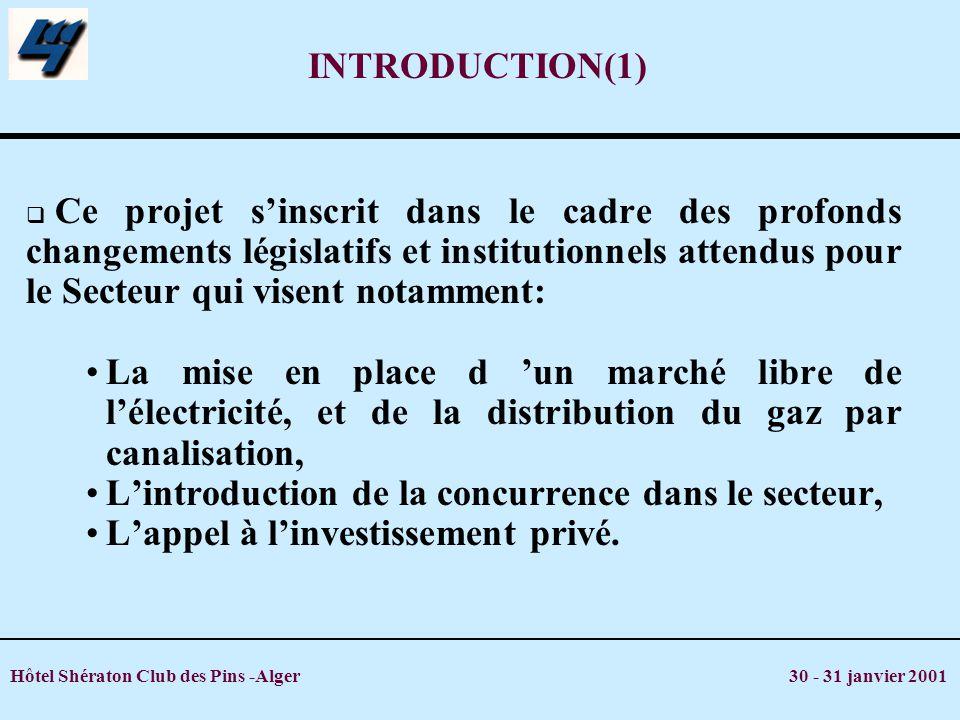 Hôtel Shératon Club des Pins -Alger 30 - 31 janvier 2001 INTRODUCTION(1) Ce projet sinscrit dans le cadre des profonds changements législatifs et inst