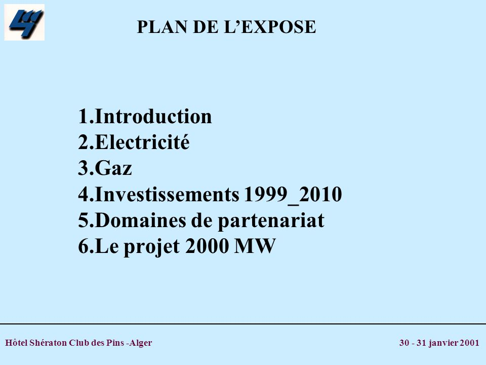 Hôtel Shératon Club des Pins -Alger 30 - 31 janvier 2001 1.Introduction 2.Electricité 3.Gaz 4.Investissements 1999_2010 5.Domaines de partenariat 6.Le