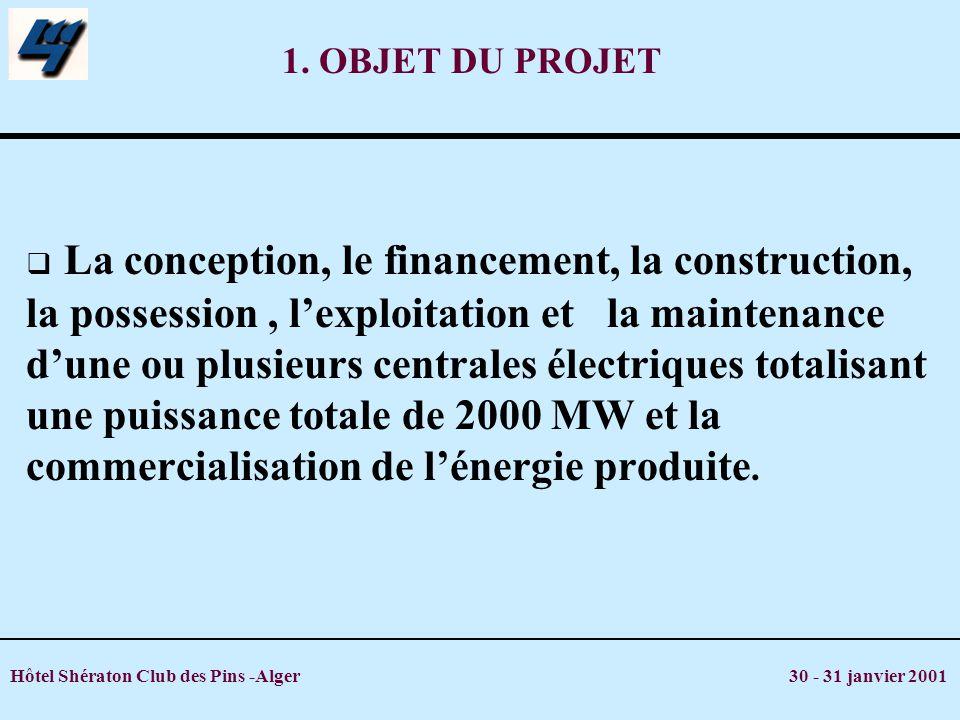 Hôtel Shératon Club des Pins -Alger 30 - 31 janvier 2001 1. OBJET DU PROJET La conception, le financement, la construction, la possession, lexploitati