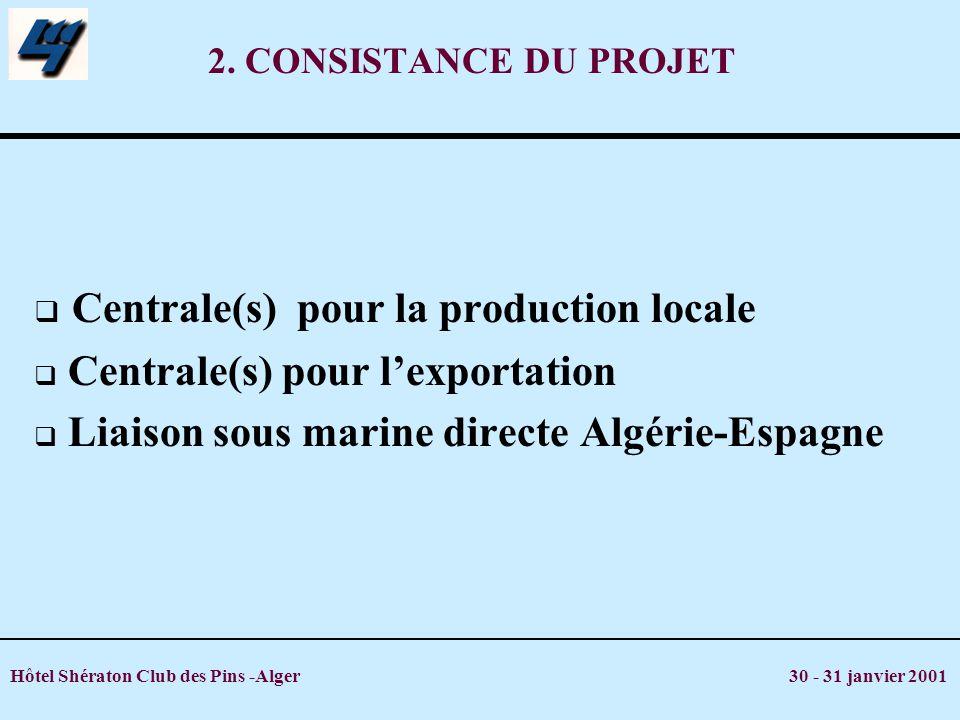 Hôtel Shératon Club des Pins -Alger 30 - 31 janvier 2001 2. CONSISTANCE DU PROJET Centrale(s) pour la production locale Centrale(s) pour lexportation