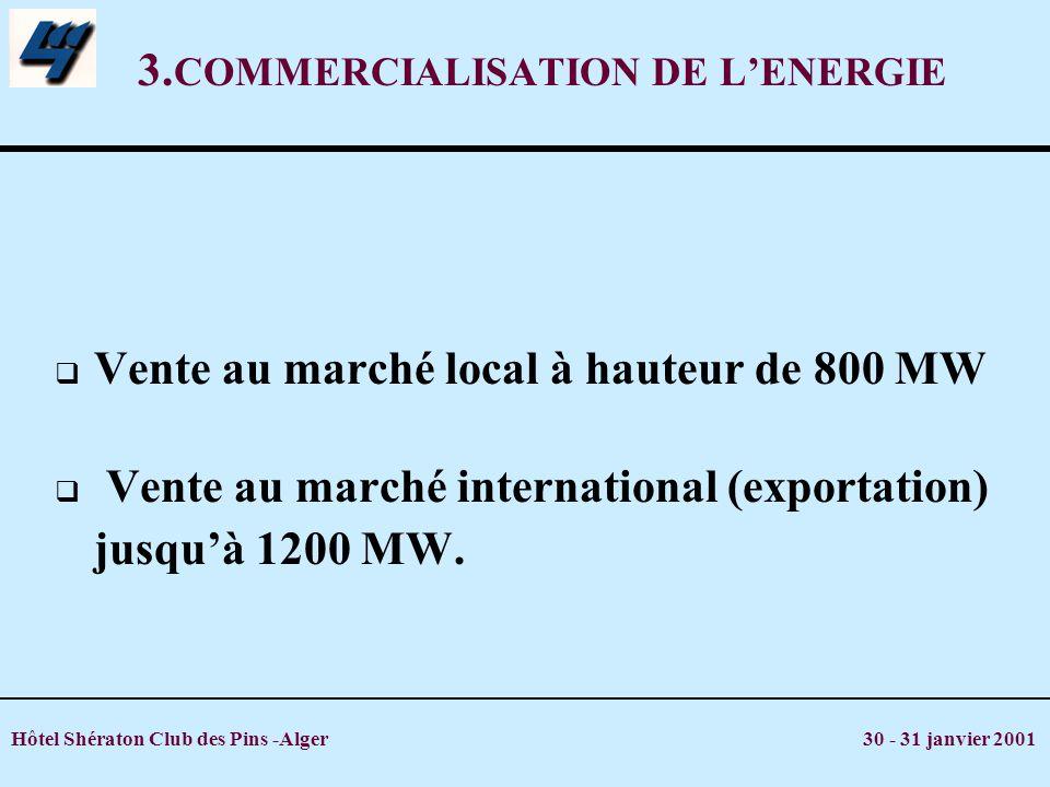 Hôtel Shératon Club des Pins -Alger 30 - 31 janvier 2001 3. COMMERCIALISATION DE LENERGIE Vente au marché local à hauteur de 800 MW Vente au marché in