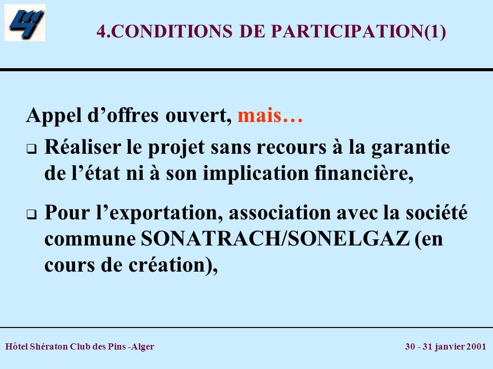 Hôtel Shératon Club des Pins -Alger 30 - 31 janvier 2001 4.CONDITIONS DE PARTICIPATION(1) Appel doffres ouvert, mais… Réaliser le projet sans recours