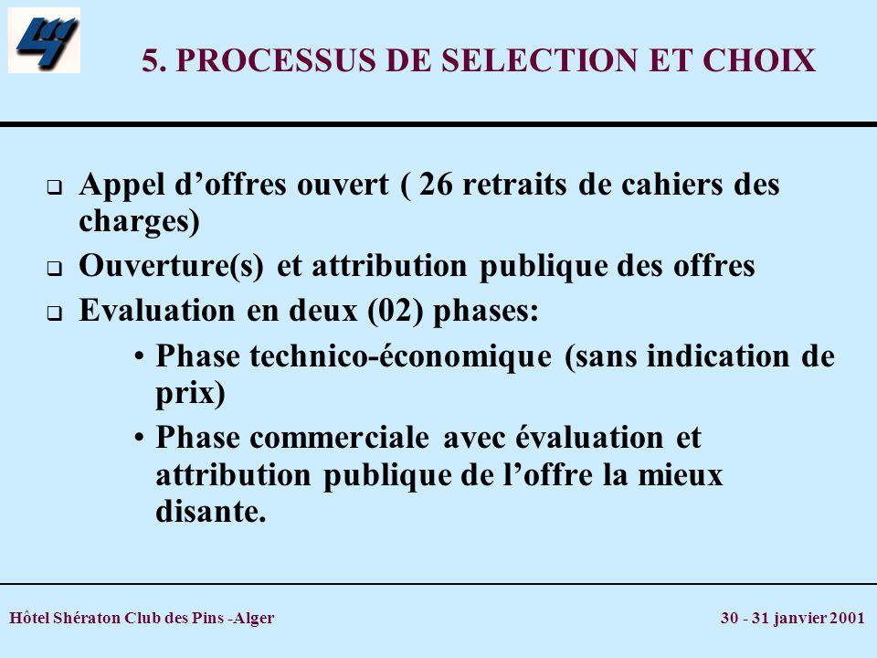 Hôtel Shératon Club des Pins -Alger 30 - 31 janvier 2001 5. PROCESSUS DE SELECTION ET CHOIX Appel doffres ouvert ( 26 retraits de cahiers des charges)