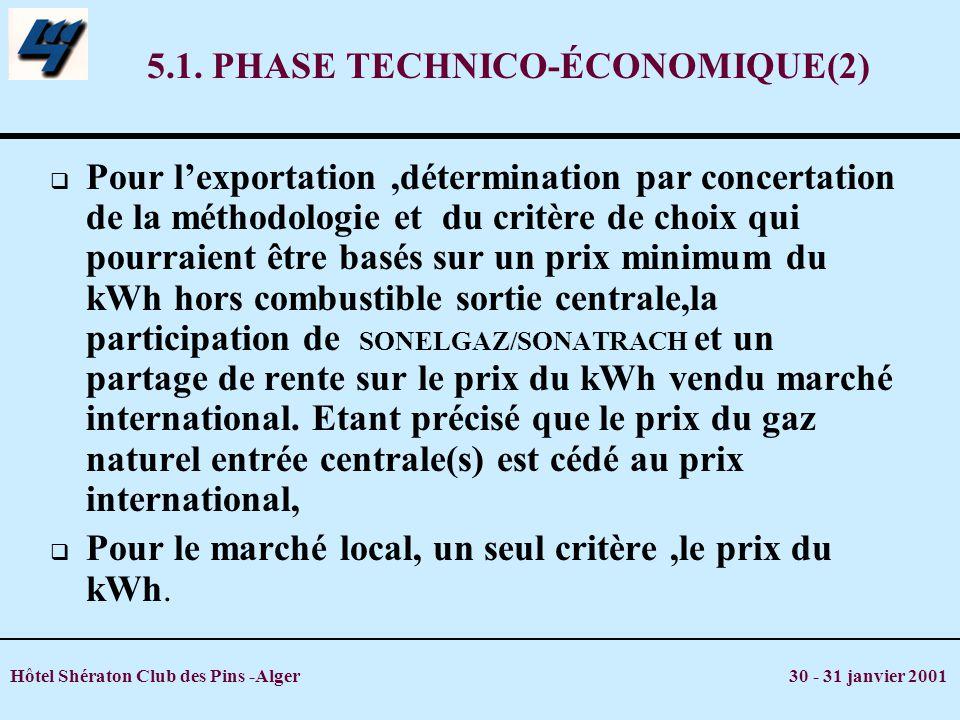 Hôtel Shératon Club des Pins -Alger 30 - 31 janvier 2001 5.1. PHASE TECHNICO-ÉCONOMIQUE(2) Pour lexportation,détermination par concertation de la méth