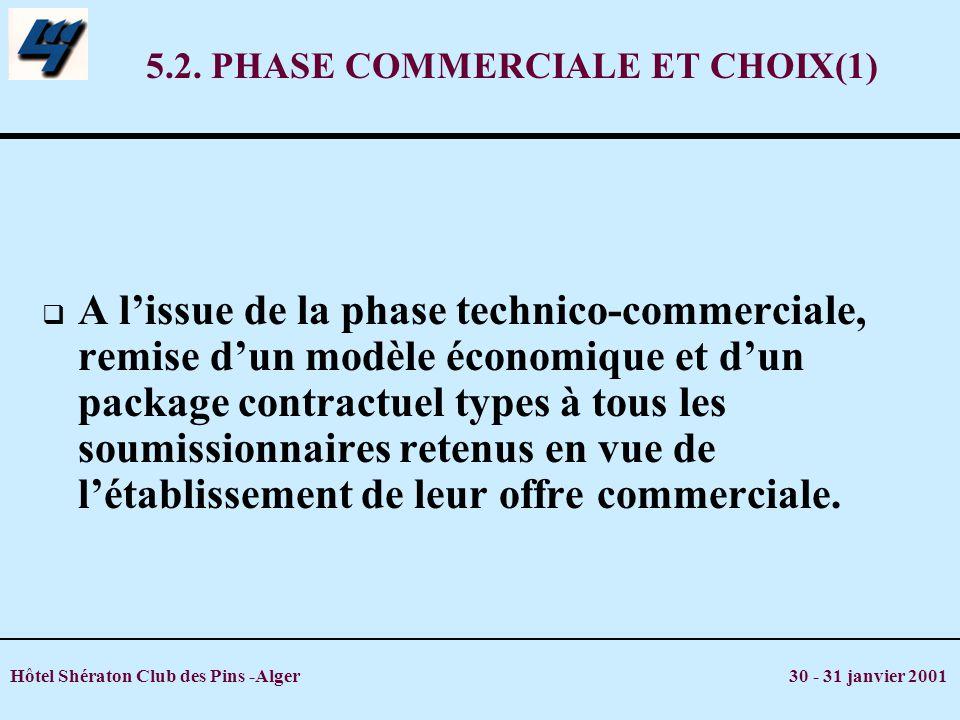 Hôtel Shératon Club des Pins -Alger 30 - 31 janvier 2001 5.2. PHASE COMMERCIALE ET CHOIX(1) A lissue de la phase technico-commerciale, remise dun modè