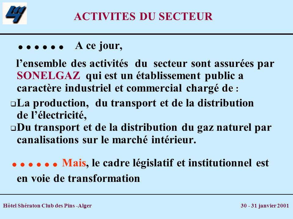 Hôtel Shératon Club des Pins -Alger 30 - 31 janvier 2001 PRODUCTION ELECTRICITE 5,4 TRANSPORT GAZ 1,6 RESEAU THT/HT 2,1 RESEAU DISTRIB.
