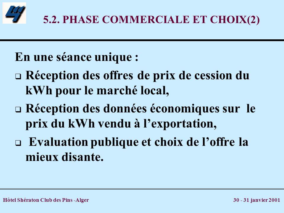 Hôtel Shératon Club des Pins -Alger 30 - 31 janvier 2001 5.2. PHASE COMMERCIALE ET CHOIX(2) En une séance unique : Réception des offres de prix de ces