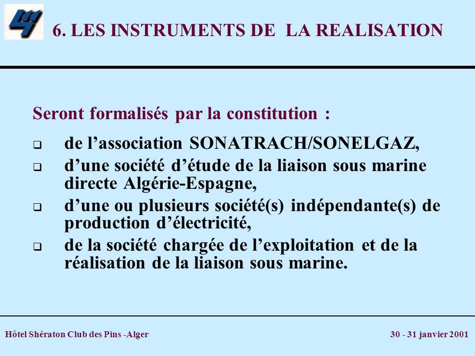 Hôtel Shératon Club des Pins -Alger 30 - 31 janvier 2001 6. LES INSTRUMENTS DE LA REALISATION Seront formalisés par la constitution : de lassociation