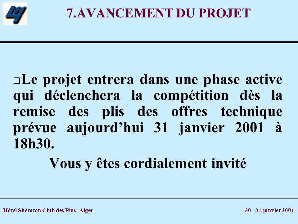 Hôtel Shératon Club des Pins -Alger 30 - 31 janvier 2001 7.AVANCEMENT DU PROJET Le projet entrera dans une phase active qui déclenchera la compétition