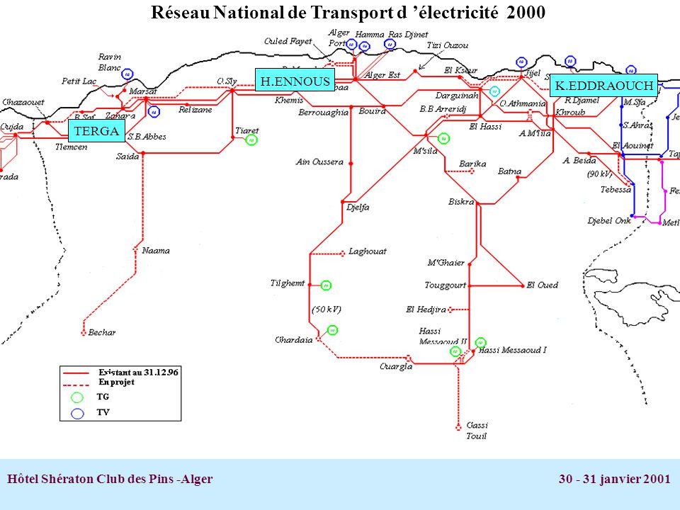 Hôtel Shératon Club des Pins -Alger 30 - 31 janvier 2001 H. ENNOUS K.EDDRAOUCH TERGA Réseau National de Transport d électricité 2000