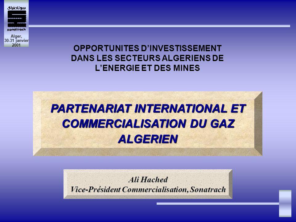 Alger, 30-31 janvier 2001 Europe 49% Algérie 15% Russie 24% Norvège 12% Algérie 29% Norvège 23% Russie 46% Autres 2% Sonatrach : 29% des importations Sonatrach : 15% de la consommation PLACE DE SONATRACH DANS LE MARCHE GAZIER DE LUE (1999) PARTENARIAT INTERNATIONAL ET COMMERCIALISATION DU GAZ ALGERIEN OPPORTUNITES DINVESTISSEMENT DANS LES SECTEURS ALGERIENS DE LENERGIE ET DES MINES