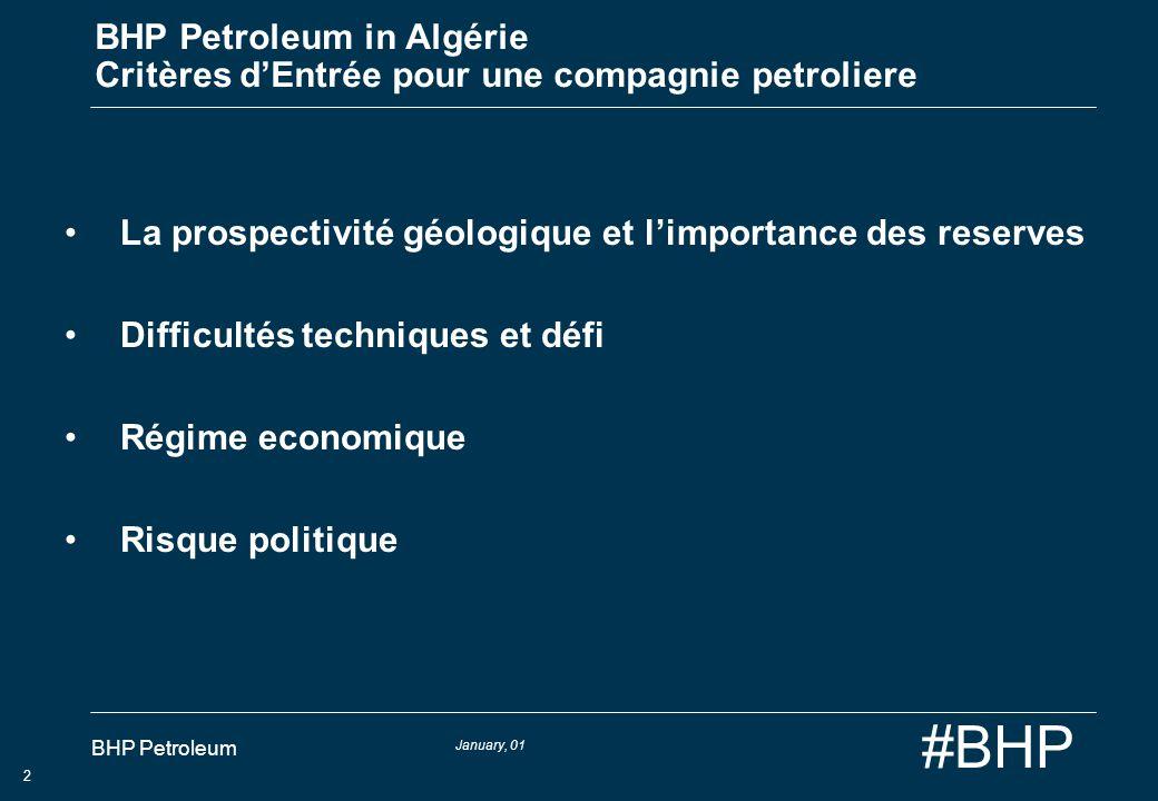 January, 01 BHP Petroleum 2 #BHP BHP Petroleum in Algérie Critères dEntrée pour une compagnie petroliere La prospectivité géologique et limportance de