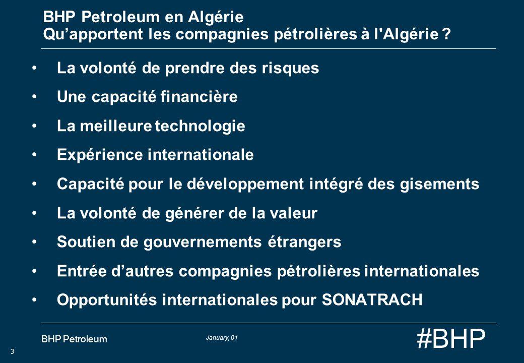 January, 01 BHP Petroleum 3 #BHP BHP Petroleum en Algérie Quapportent les compagnies pétrolières à l'Algérie ? La volonté de prendre des risques Une c
