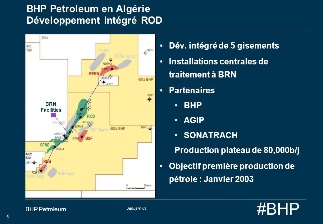 January, 01 BHP Petroleum 6 #BHP BHP Petroleum en Algérie Développement gaz humide Ohanet 4 gisements de gaz humide liquide Installations de traitement de gaz de 20 MSm 3 /j Partenaires JV: BHP JOOG PETROFAC Woodside* *soumis à lapprobation du gouvernement Objectif de première production de gaz: Août 2003 In Adaoui Dimeta West Usine de Traitement Gaz 1 3 2 4 5 Ohanet