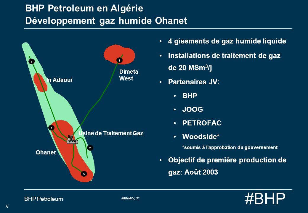 January, 01 BHP Petroleum 6 #BHP BHP Petroleum en Algérie Développement gaz humide Ohanet 4 gisements de gaz humide liquide Installations de traitemen