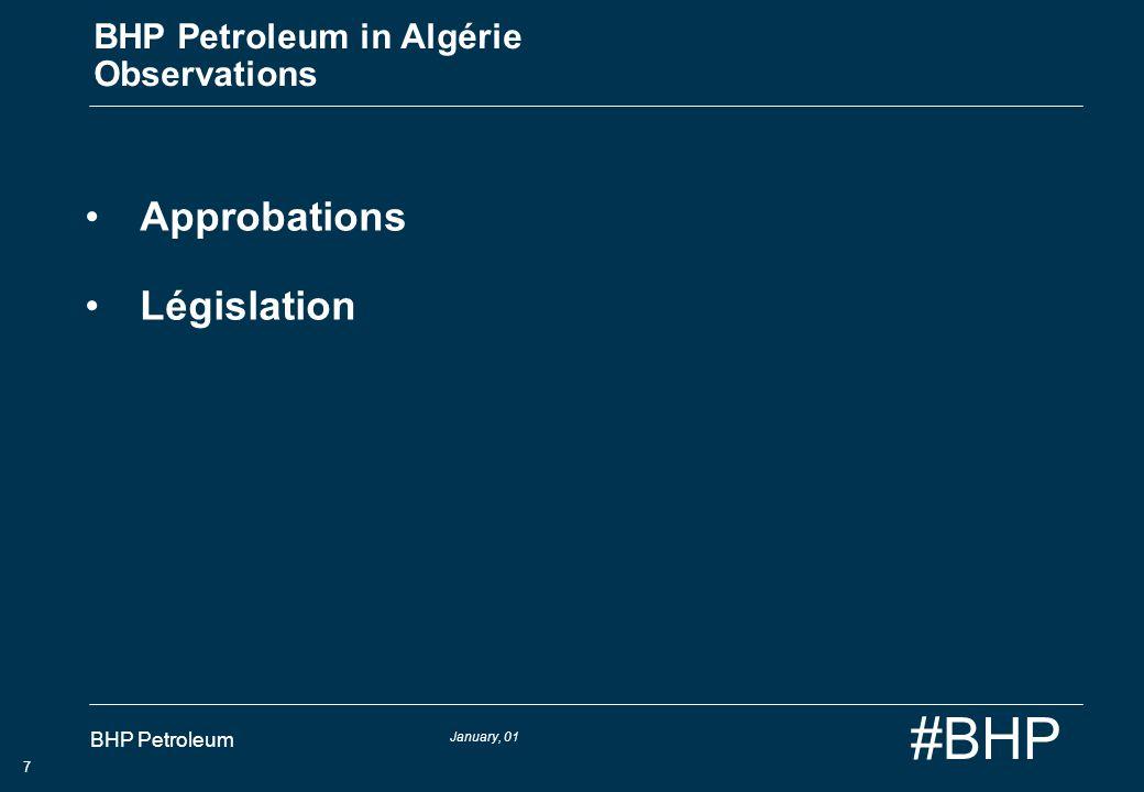 January, 01 BHP Petroleum 8 #BHP BHP Petroleum en Algérie Conclusions Equation risques/bénéfices acceptable pour linvestissement La contribution précieuse des compagnies pétrolières internationales Opérations rendues difficiles par le retard dans les approbations Clarification des responsibilites et lalignement des acteurs