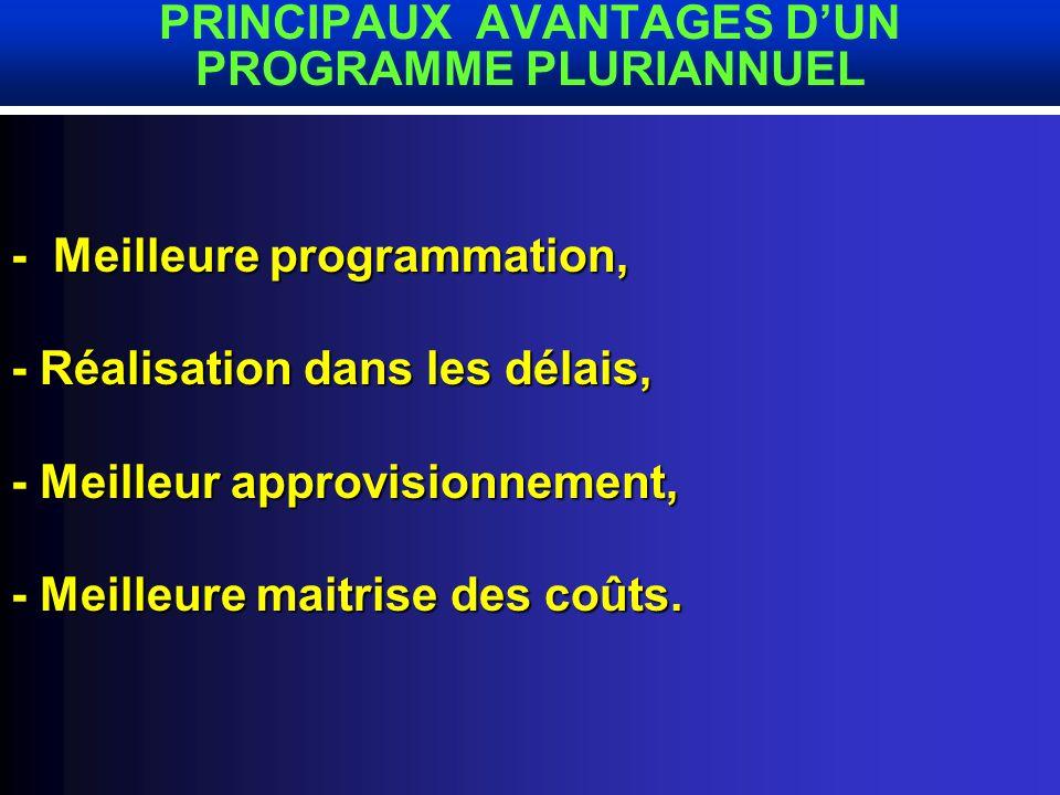 - - Nécessité dune programmtion pluriannuelle avec un financement assuré, - Il est proposé un programme triennal 2002-2004.