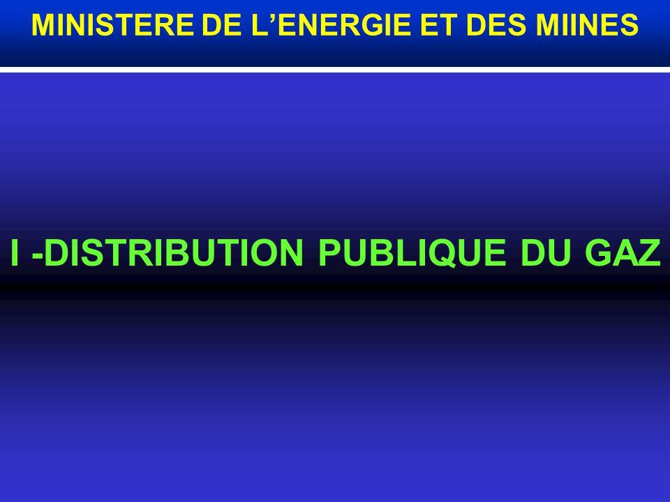 I -DISTRIBUTION PUBLIQUE DU GAZ MINISTERE DE LENERGIE ET DES MIINES
