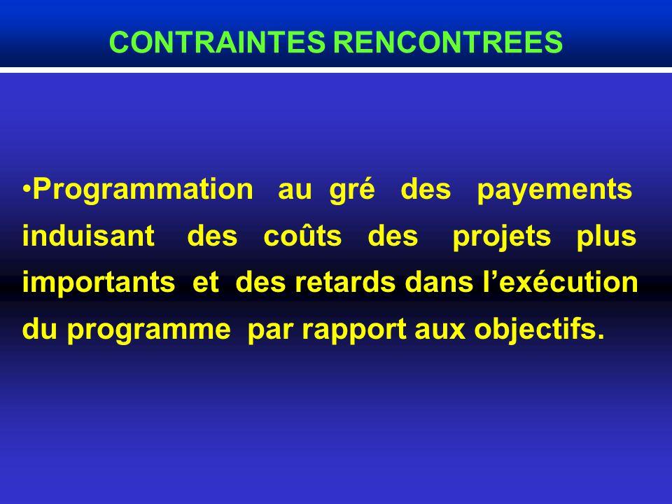 Programmation au gré des payements induisant des coûts des projets plus importants et des retards dans lexécution du programme par rapport aux objectifs.