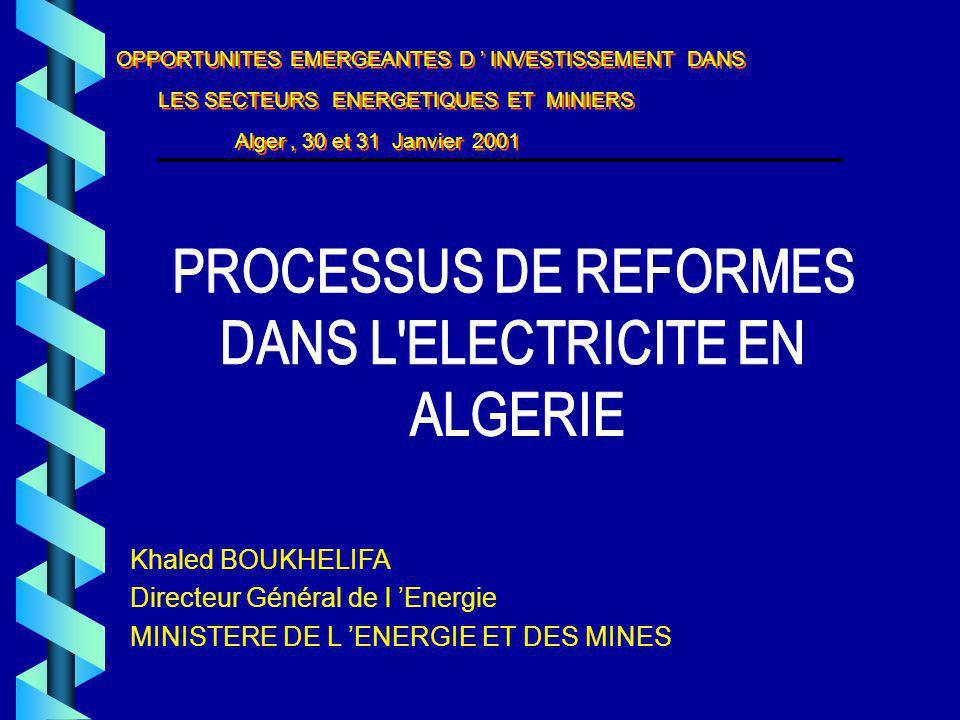 Khaled BOUKHELIFA Directeur Général de l Energie MINISTERE DE L ENERGIE ET DES MINES OPPORTUNITES EMERGEANTES D INVESTISSEMENT DANS LES SECTEURS ENERGETIQUES ET MINIERS Alger, 30 et 31 Janvier 2001 OPPORTUNITES EMERGEANTES D INVESTISSEMENT DANS LES SECTEURS ENERGETIQUES ET MINIERS Alger, 30 et 31 Janvier 2001