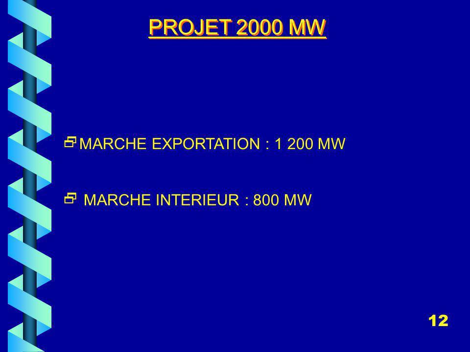 PROJET 2000 MW MARCHE EXPORTATION : 1 200 MW MARCHE INTERIEUR : 800 MW 12