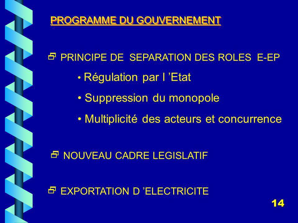PROGRAMME DU GOUVERNEMENT PRINCIPE DE SEPARATION DES ROLES E-EP Régulation par l Etat Suppression du monopole Multiplicité des acteurs et concurrence NOUVEAU CADRE LEGISLATIF EXPORTATION D ELECTRICITE 14