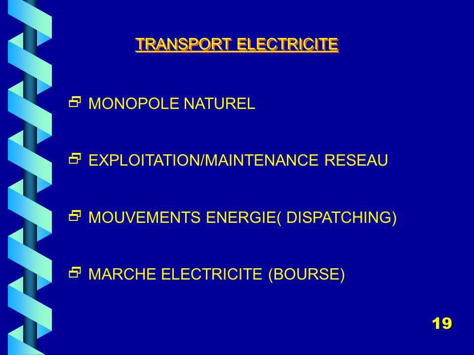 TRANSPORT ELECTRICITE MONOPOLE NATUREL EXPLOITATION/MAINTENANCE RESEAU MOUVEMENTS ENERGIE( DISPATCHING) MARCHE ELECTRICITE (BOURSE) 19