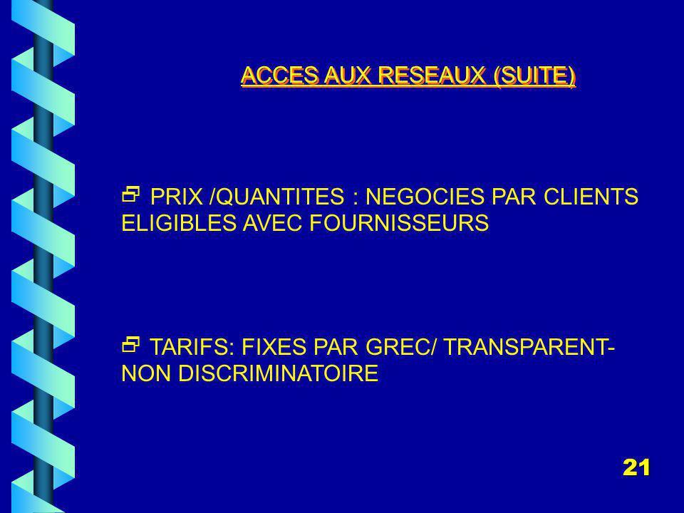 ACCES AUX RESEAUX (SUITE) PRIX /QUANTITES : NEGOCIES PAR CLIENTS ELIGIBLES AVEC FOURNISSEURS TARIFS: FIXES PAR GREC/ TRANSPARENT- NON DISCRIMINATOIRE 21