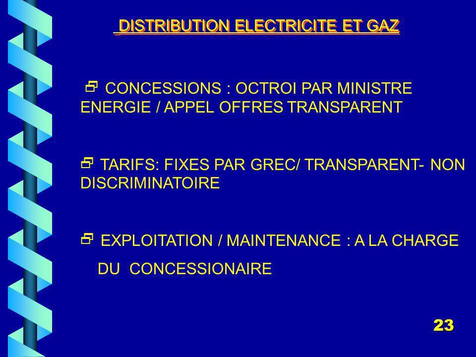 DISTRIBUTION ELECTRICITE ET GAZ CONCESSIONS : OCTROI PAR MINISTRE ENERGIE / APPEL OFFRES TRANSPARENT TARIFS: FIXES PAR GREC/ TRANSPARENT- NON DISCRIMINATOIRE EXPLOITATION / MAINTENANCE : A LA CHARGE DU CONCESSIONAIRE 23