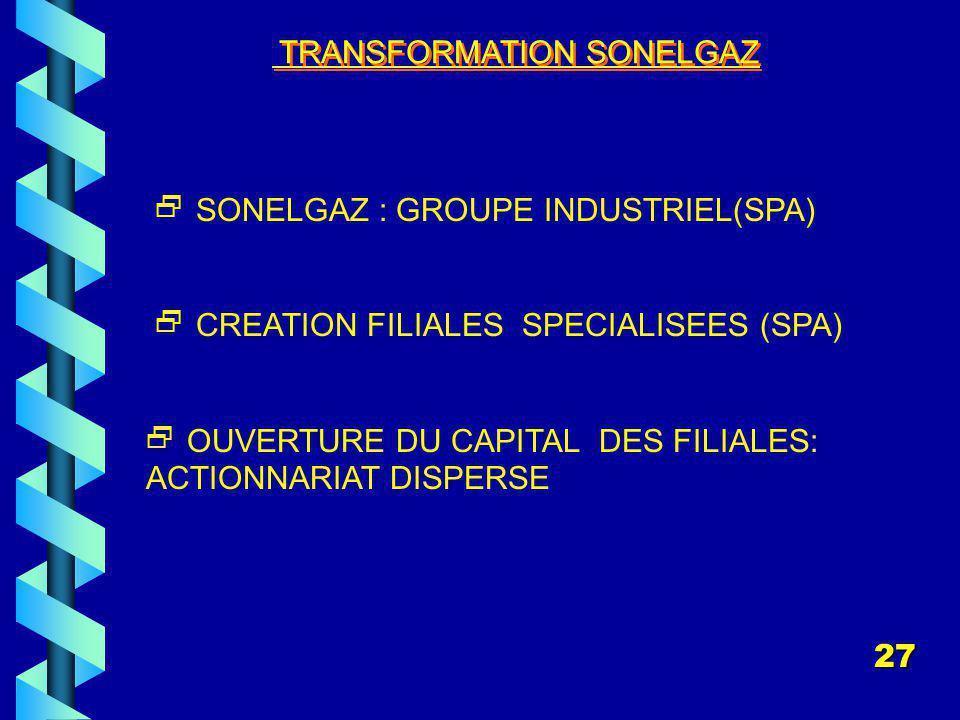 TRANSFORMATION SONELGAZ SONELGAZ : GROUPE INDUSTRIEL(SPA) CREATION FILIALES SPECIALISEES (SPA) OUVERTURE DU CAPITAL DES FILIALES: ACTIONNARIAT DISPERSE 27