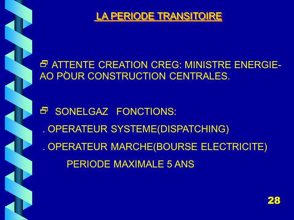 LA PERIODE TRANSITOIRE.ATTENTE CREATION CREG: MINISTRE ENERGIE- AO POUR CONSTRUCTION CENTRALES.