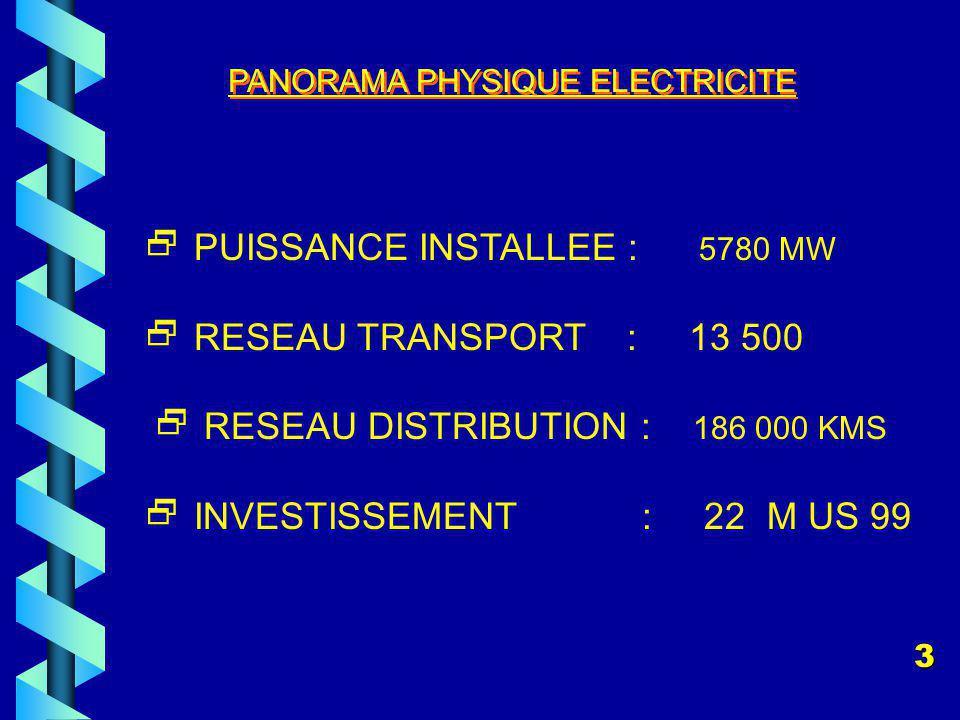 PANORAMA PHYSIQUE ELECTRICITE PUISSANCE INSTALLEE : 5780 MW RESEAU TRANSPORT : 13 500 RESEAU DISTRIBUTION : 186 000 KMS INVESTISSEMENT : 22 M US 99 3