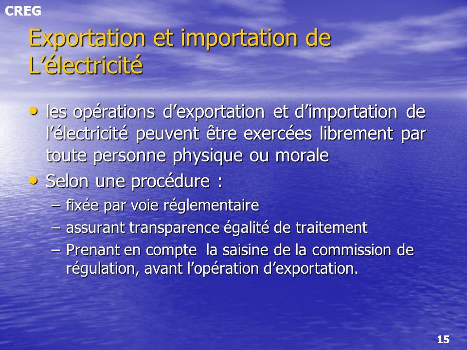CREG 15 Exportation et importation de Lélectricité les opérations dexportation et dimportation de lélectricité peuvent être exercées librement par tou
