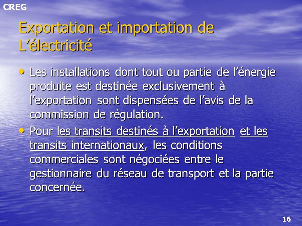 CREG 16 Les installations dont tout ou partie de lénergie produite est destinée exclusivement à lexportation sont dispensées de lavis de la commission