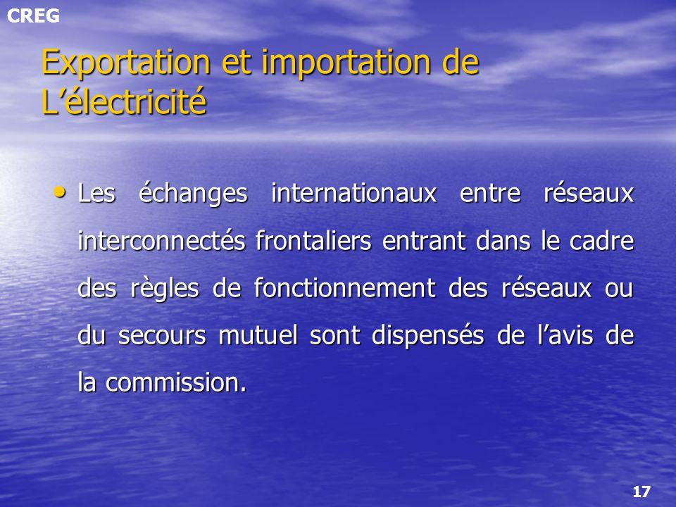 CREG 17 Exportation et importation de Lélectricité Les échanges internationaux entre réseaux interconnectés frontaliers entrant dans le cadre des règl