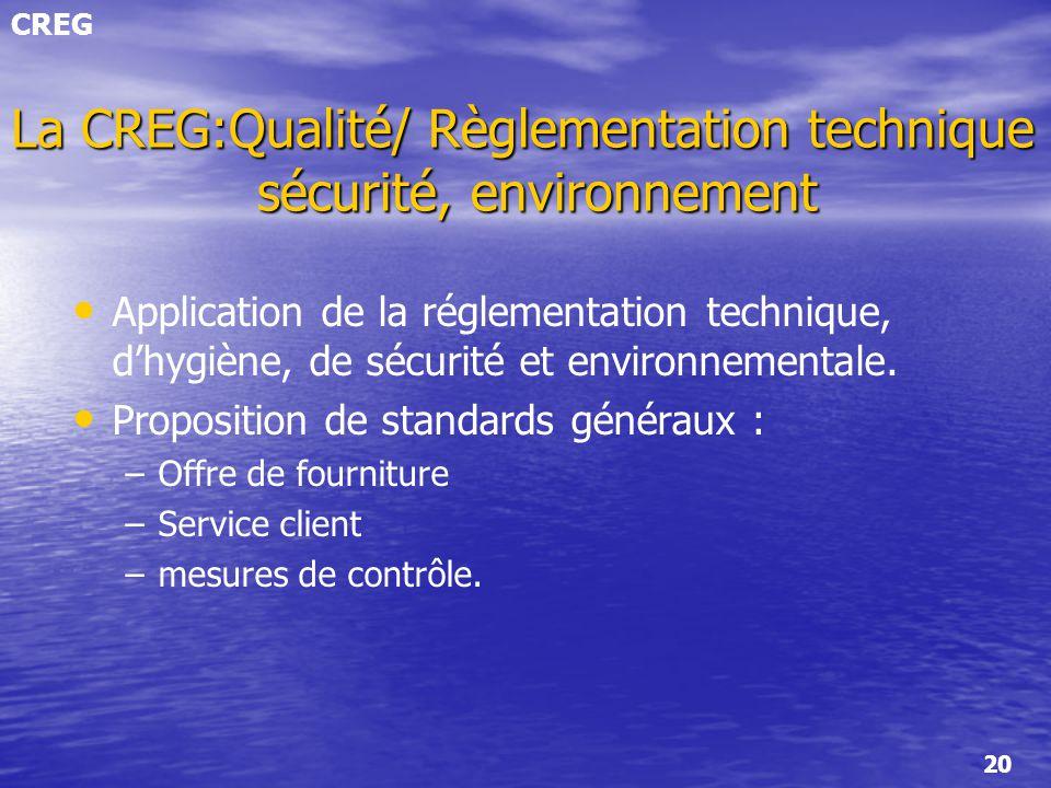 CREG 20 La CREG:Qualité/ Règlementation technique sécurité, environnement Application de la réglementation technique, dhygiène, de sécurité et environ