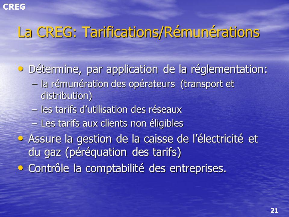 CREG 21 La CREG: Tarifications/Rémunérations Détermine, par application de la réglementation: Détermine, par application de la réglementation: –la rém