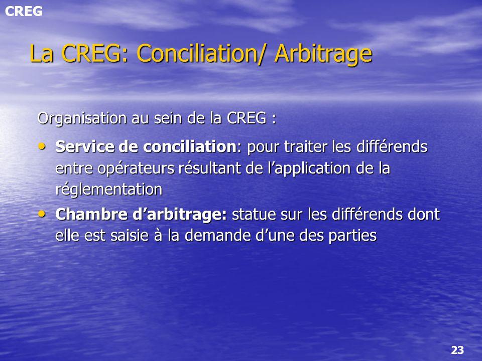 CREG 23 La CREG: Conciliation/ Arbitrage Organisation au sein de la CREG : Service de conciliation: pour traiter les différends entre opérateurs résul