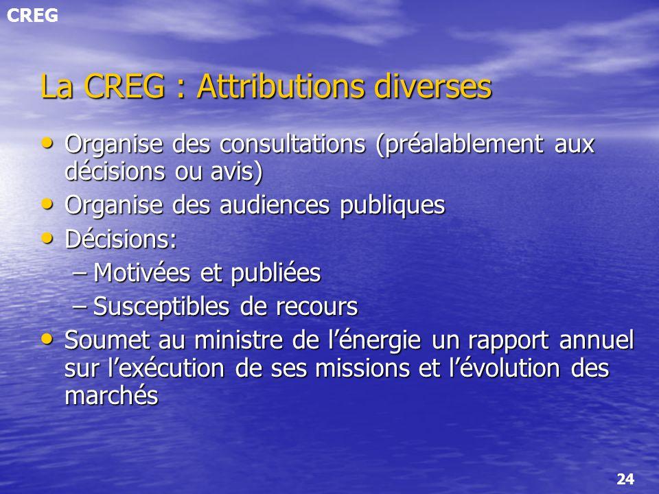 CREG 24 La CREG : Attributions diverses Organise des consultations (préalablement aux décisions ou avis) Organise des consultations (préalablement aux