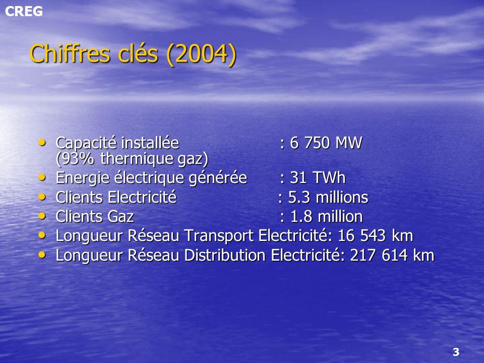 CREG 3 Chiffres clés (2004) Capacité installée : 6 750 MW (93% thermique gaz) Capacité installée : 6 750 MW (93% thermique gaz) Energie électrique gén