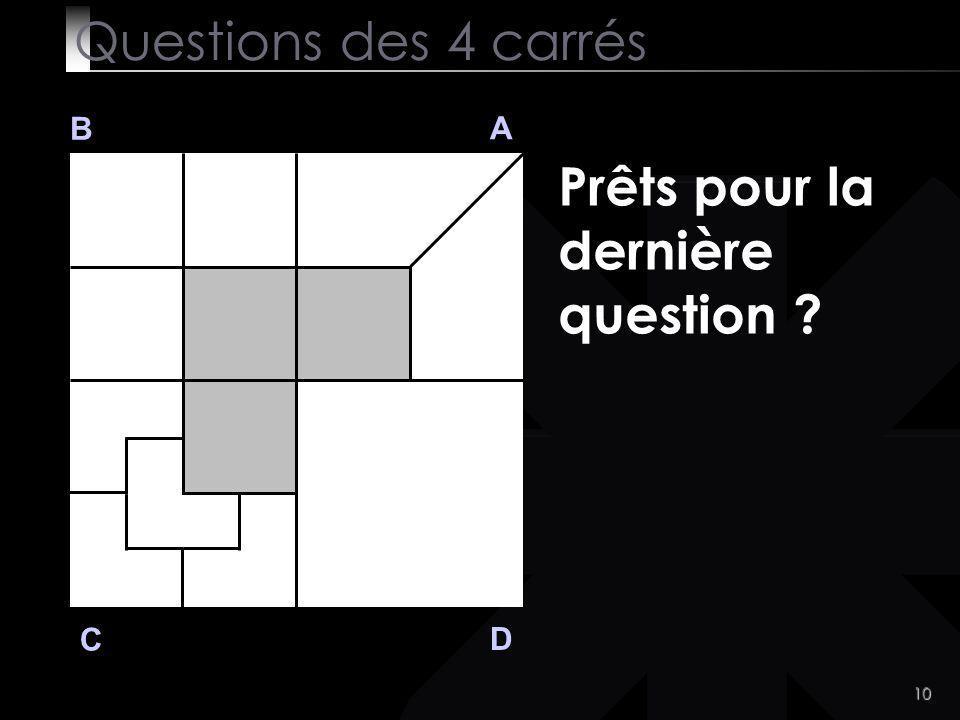 10 B A D C Prêts pour la dernière question ? Questions des 4 carrés